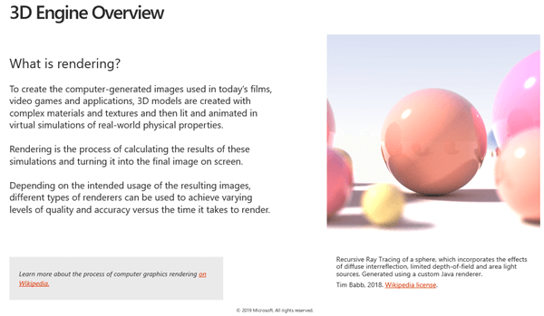3D-sisu juhiste jaotise 3D-mootori ülevaate pilt