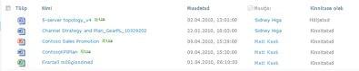 Dokumenditeek, mis sisaldab ühte hüljatud ja mitut kinnitatud faili
