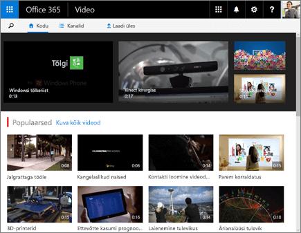 Office 365 videoportaali avakuva kuvatõmmis.