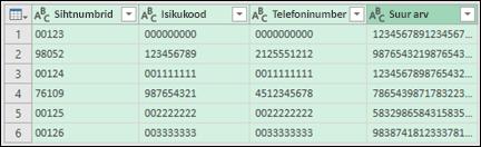 Toomine ja teisendus > Teisenda andmed tekstiks