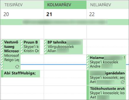 Kalendri näeb kasutajale, kui annate ühiskasutusse piiratud üksikasjad.