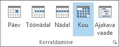 Menüü Avaleht jaotis Korraldamine: päev, nädal, töönädal, kuu ja ajakava