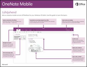 OneNote Mobile'i Lühijuhend