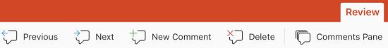 Kommentaaride nupud iPadi jaoks mõeldud PowerPointis