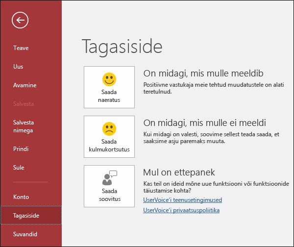 Kui teil on Accessi kohta kommentaare või ettepanekuid, millest soovite Microsoftile teada anda, valige Fail > Tagasiside.