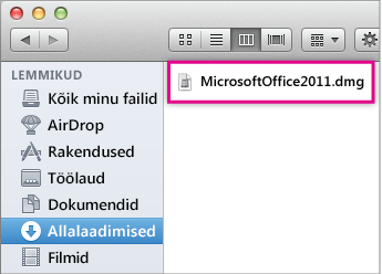 dmg-faili pilt, mille topeltklõpsamisel avaneb Office'i installiprogramm.
