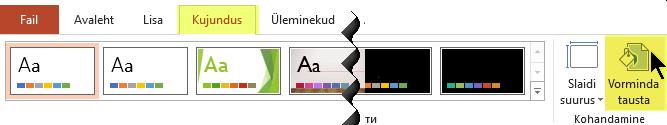 """Tausta vormindamise nupp asub PowerPointi lindi menüüs """"Kujundus"""""""