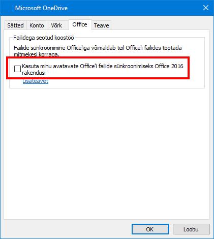 Office'i vahekaart Üleslaadimine OneDrive'i sätetes