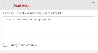 Aseteksti dialoogiboks piltide rakenduses PowerPoint for Windows Phone'i jaoks.
