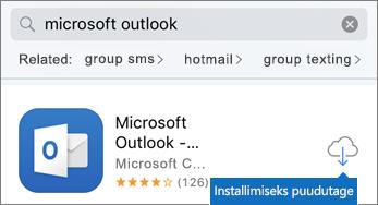 Outlooki installimiseks puudutage pilveikooni