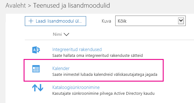 Valige Teenused ja lisandmoodulid > Kalender.