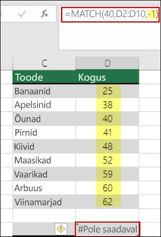 Exceli funktsioon match