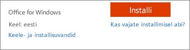 Office 365 keele- ja installisuvandid