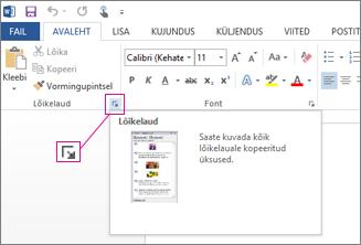 Office'i lõikelaua avamine rakenduses Word 2013