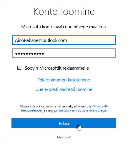 Kuvatõmmis, millel on kujutatud Microsofti konto loomise dialoogiboks.