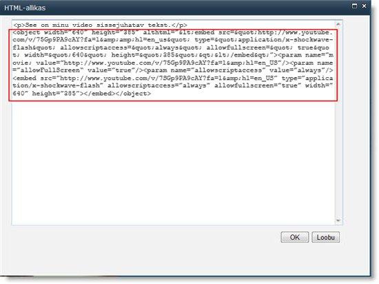 HTML-koodi redaktor video jaoks oleva manustamiskoodiga sisuredaktori veebiosa jaoks