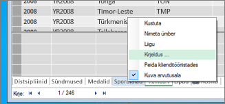 Kirjelduse lisamine tabelile