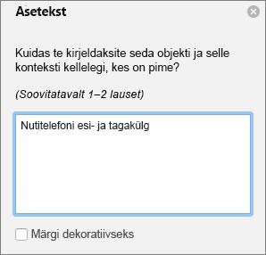 Dialoogiboks Piltide Exceli 365 kirjutamine asetekst