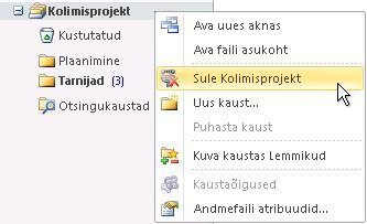 Outlooki andmefaili (.pst) sulgemise käsk