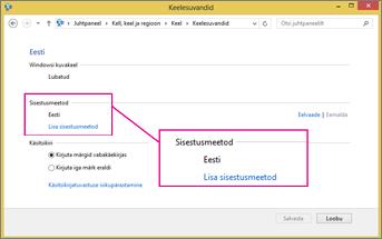 Opsüsteemi Windows 8 rakenduse Office 2016 sisestusmeetodi lisamine