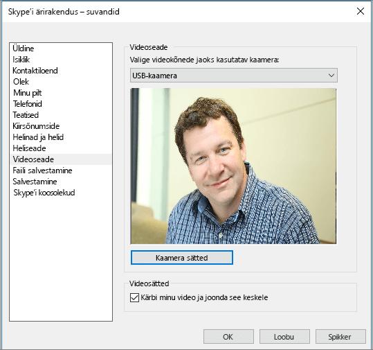 Skype'i ärirakenduse suvandite dialoogiboksi videoseadmete lehe kuvatõmmis.