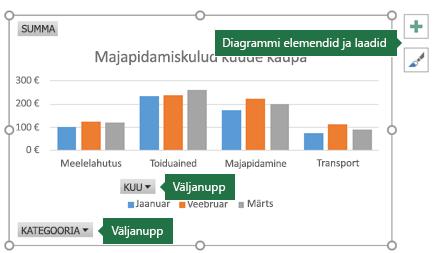 PivotChart-liigenddiagramm, mille sildid osutavad väljanuppudele ja diagrammiriistadele