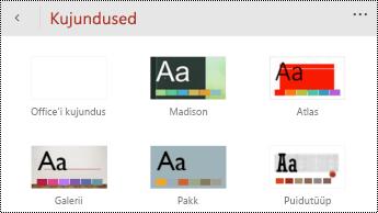Menüü Teemad rakenduses PowerPoint Mobile for Windowsi telefonides.