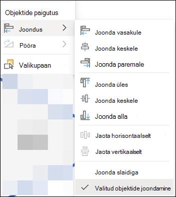 PowerPointi veebirakenduse menüü joondus.