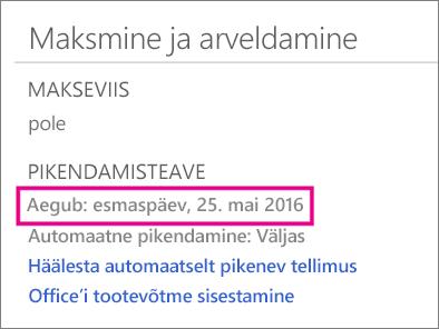 "OneDrive'i jaotis ""Maksmine ja arveldamine"""