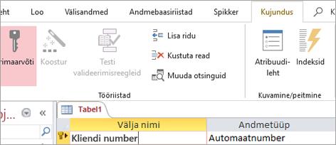 Esmase võtme välja valimine uues Accessi tabelis