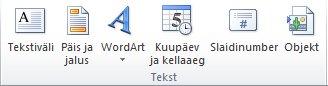 PowerPoint 2010 riba menüü Lisa jaotis Tekst.