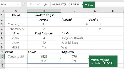 Funktsioon funktsioon MMULT – näide 2