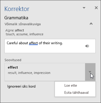 Tööpaan Korrektor grammatikavigade parandamiseks