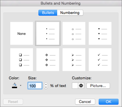 Office for Mac Bullet and Numbering dialog