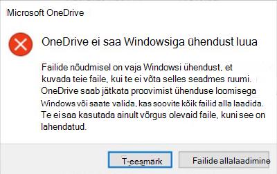 OneDrive ' i probleemi pilt