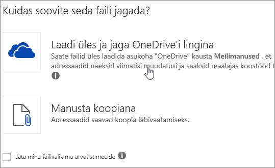 Kuvatõmmis, manuse dialoogiboksi üles ja manustamine OneDrive'i Fail suvandit.