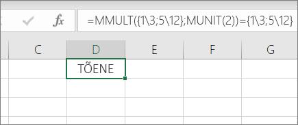 Funktsioon MUNIT näide