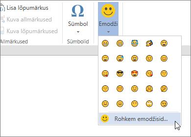 Klõpsake nuppu veel Emojis Emojis valida kõik saadaolevad emojis menüü Lisa nuppu.