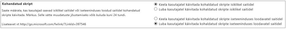 Kuvatõmmis SharePoint Online'i halduskeskuse kohandatud skriptisättest