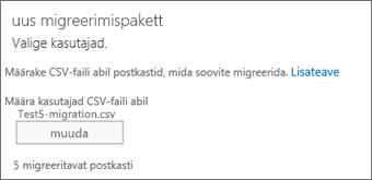 Uus migreerimispakett CSV-failiga