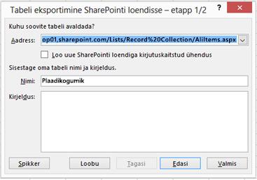 """Dialoogiboksi """"SharePointi eksportimine"""" esimene leht"""