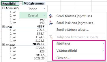 PivotTable-liigendtabeli andmete filtreerimissuvandid