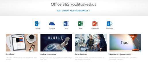 Office'i koolituskeskuse avaleht, kus on kuvatud Office'i rakenduste ikoonid ja saadaolevate sisutüüpide paanid