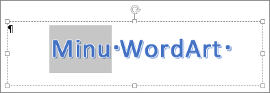 Osaliselt valitud WordArt-tekst