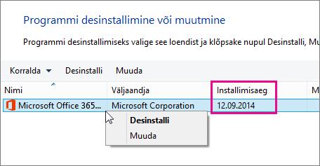 Veeru Installitud abil saate otsustada, milline Office'i versioon desinstallida