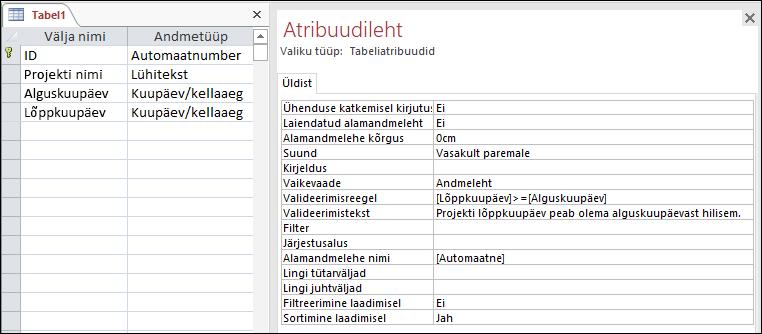 Tabeli valideerimisreegel Accessi tabelikujundajas