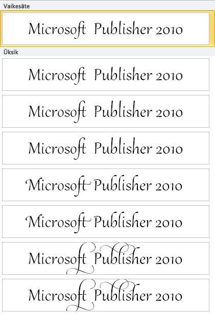 Rakenduse Publisher 2010 stiilikomplektid OpenType-fontide keerukama tüpograafia jaoks