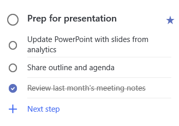 Üksikasjaliku ülevaate ülesande ettevalmistusest kolme toiminguga esitluse jaoks: PowerPointi värskendamine koos slaididega Analyticsist, liigenduse ja päevakorra jagamine ning viimase kuu koosoleku märkmete läbivaatus, mis on lõpule viidud