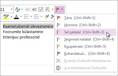 Saate luua tööülesande, mida saab Outlookis jälgida.