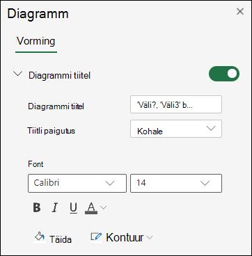Diagrammitiitli suvandid Exceli veebirakendus